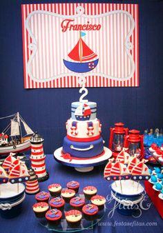 Festa Marinheiro by Festas e Fitas Nautical Mickey, Nautical Cake, Nautical Party, Baby Shower Decorations For Boys, Baby Shower Themes, Baby Boy Shower, Baby Boy 1st Birthday, Mickey Birthday, Cruise Theme Parties