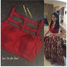 Cut out blouse/croptop Saree Jacket Designs, Choli Designs, Sari Blouse Designs, Designer Blouse Patterns, Kurta Designs, Blouse Styles, Designer Dresses, Style Oriental, Crop Top Designs