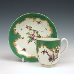 Worcester Spotted Fruit Coffee Cup and Saucer c1770  | eBay
