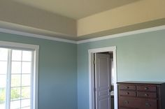 "Love this paint combo:  wall - Benjamin Moore ""Wythe Blue"" & ceiling - Benjamin Moore- Sandy Brown"