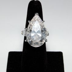 Huge Vintage Fantasia by Deserio Pear Shaped CZ Engagement Ring Gold Over SS   eBay