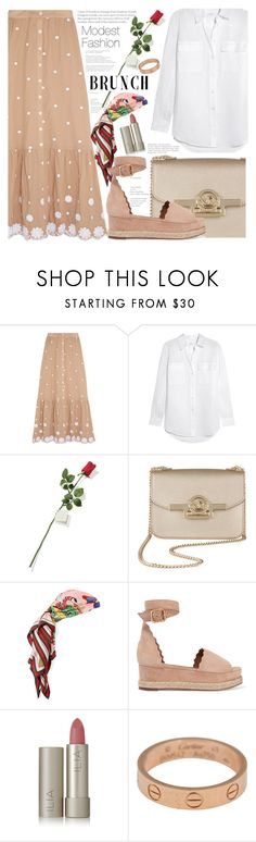 """""""Mother's Day Brunch Goals"""" by fattie-zara ❤ liked on Polyvore featuring Miguelina, Equipment, Hanky Panky, Gucci, Chloé, Ilia, Cartier and brunchgoals"""