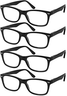 771992fae8f Amazon.com  Reading Glasses Set of 4 Black Quality Readers Spring Hinge  Glasses for Reading for Men and Women +1  Clothing