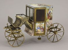 Austrian enamel miniature Model of a Brougham carriage, Vienna, circa 1880.