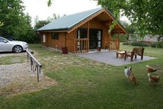 Mirabell Chalets, Airport Rd, Alexandra Central Otago. Would NOT recommend staying here if you don't have a vehicle as it is 3-4kms out of town (and Alex is cold at night when we went). Otherwise, awesome! No neighbours, beautiful cabins, gardens to walk around, and those chickens just wanna be your buddies (they'll try and get in if they can!) There's a hot tub outside too :)