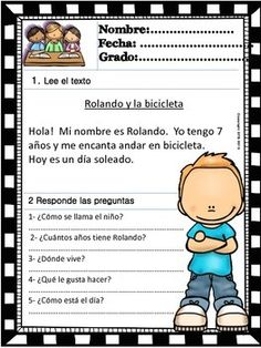 READING COMPREHENSION FOR KIDS - LEVEL 1 - SPANISH VERSION - VOLUME 1 - TeachersPayTeachers.com
