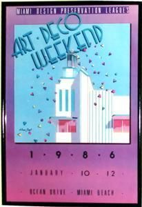 framed poster of the 9th annual art deco weekend (1986)