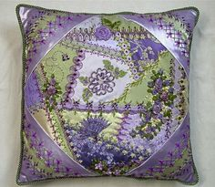 I ❤ embroidery & crazy quilting . . . Beautiful Russian CQ Pillow1                                                                                                                                                      More