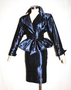 Vintage UNGARO PARALLELE Suit Metallic Blue Peplum door StatedStyle, $325.00