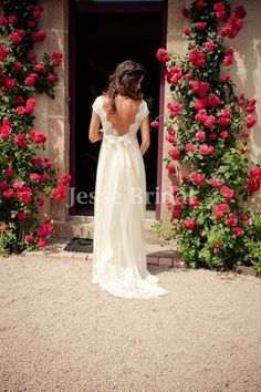 Gorgeous lace bodice backless Ivory Silk chiffon by JesseBridal, $279.99