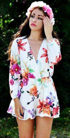 Floral Print Long Sleeves Romper Playsuit