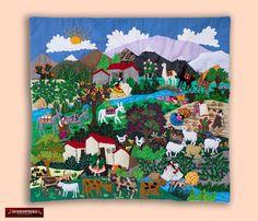 """Arpillera arte popular Del Perú 17.7""""x19.7"""" - Cuadro textil de pared - Decoracion Hogar - Decoracion de Interior con artesania peruana by DECORCONTRERAS on Etsy"""