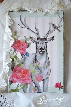 decoupage digitale-ritratto di cervo-rosa di SafuArt su Etsy
