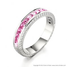 "This ring is like perfection, simple but stunning.   14k White Gold Ring with Princess cut Sapphire in Pink - ""Triumph"""
