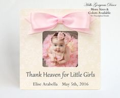 Baby girl frame personalized gift ideas newborn picture frame baby baby picture frame personalized baby girl gift custom photo frame thank heaven for little girls nursery decor push present new baby newborn negle Image collections