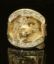 United States Marine Corps Insignia Ring Gold Colored Cast Bronze