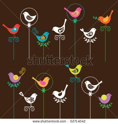 Vector illustration of a colorful bird collection. I also have a matching flower set. Please see my portfolio. by JungleOutThere, via Shutte...