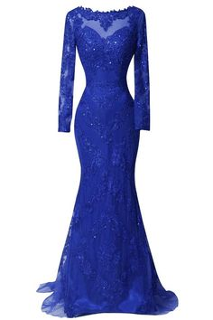 ORIENT BRIDE Scoop Beaded Appliques Formal Evening Dresses with Long Sleeves Size 16 US Royal Blue