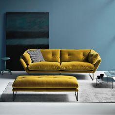 New York Suite sofa couch Saba Italian mustard sofa & cool design by Italian Sergio Bicego. Sofa Furniture, Modern Furniture, Furniture Design, White Furniture, Repurposed Furniture, Rustic Furniture, Furniture Makeover, Furniture Ideas, Outdoor Furniture