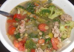 Vitamin C lentil soup.  As a powerful antioxidant, vitamin C helps lessen oxidative stress to the body. Make sure you get plenty, especially in colds and flu season. This soup will definitely fill you with that essential vitamin!  Red and yellow bell pepper, broccoli, kale, tomatoes and onion are cooked in a rich, low-fat chicken broth with turkey sausage, lentils and onion.