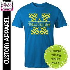 APPAREL: Chevron Block Letter School Spirit T-Shirt – Laura Washburn Designs