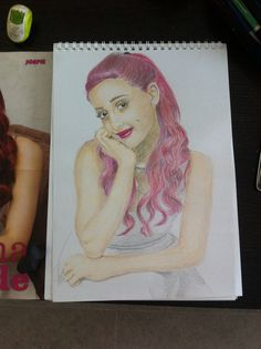 Drawing of Ariana Grande on A3 with color pencil