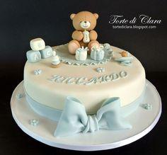 Torta per il battesimo del piccolo Riccardo ..Benvenuto!!! Torta Baby Shower, Baby Shower Cakes For Boys, Baby Boy Cakes, Baby Christening Cakes, Baby Boy Birthday Cake, Babyshower Cake Boy, Cake Decorating Tutorials, Love Cake, Cute Cakes