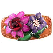 Genuine Leather Barrette, Hair Accessory, Womens, Boho Chic, Flower, Hand Tooled
