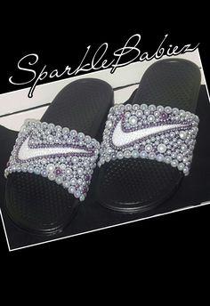 3138414be51cec Custom Bling   Pearl Nike Slides  SparkleBabiez
