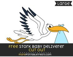 Free Stork Baby Deliverer Cut Out - Large size printable