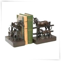 Horse N Dog with Fence Bookends