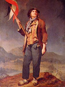 "A symbol of the revolutionary working man, Sans Culottes (""without knee breaches"") differentiated the trouser wearing working class from the knee breeches of the affluent nobility"