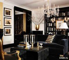 Дизайн интерьера гостиной в черном цвете