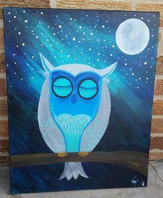 Acrylic on canvas Sleepy Owl by AshleyArtsGallery on Etsy