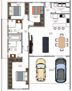 planta Bungalow Floor Plans, House Floor Plans, Interior Design Living Room, Living Room Designs, Future House, My House, Flat Ideas, Tiny House Design, Small House Plans