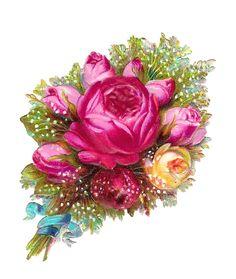 Antique Images: Scrapbooking Flower Pink Rose Digital Download Bouquet with Blue Ribbon