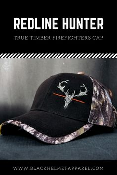 The Redline Hunter True Timber Firefighters Cap features our Hunt Fish Fire Marlin Deer Logo in Two tone black and white with blackened red line with Velcro closure.