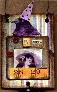 B Happy: altered slide mount card