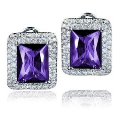 West Coast Jewelry Sterling Silver Radiant-cut CZ Double Halo Earrings ($45) ❤ liked on Polyvore featuring jewelry, earrings, jewelry & watches, purple, sterling silver cz earrings, purple jewelry, cz jewellery, unisex earrings and sterling silver cubic zirconia earrings