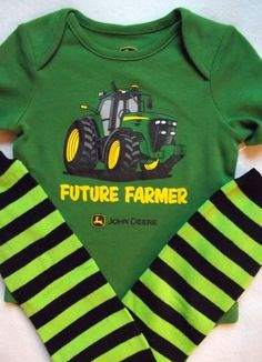 Would be cute in IH!! John Deere future farmer onesie baby boy shirt little man outfit little brother green tractor black leg warmers first Birthday  0 3 6 9 m on Etsy, $23.50