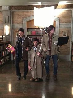 Misha Jared and Jensen's costumes. Omg those guys :D