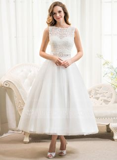 Wedding Dresses - $138.99 - A-Line/Princess Scoop Neck Tea-Length Satin Tulle Lace Wedding Dress With Beading Sequins (002054369) http://jjshouse.com/A-Line-Princess-Scoop-Neck-Tea-Length-Satin-Tulle-Lace-Wedding-Dress-With-Beading-Sequins-002054369-g54369