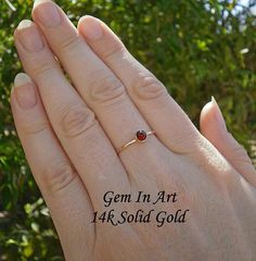 14K Solid Gold Stacking RingSolid Gold Dainty Ring14K Gold Dainty Gold Rings, 14k Gold Ring, Midi Rings, Garnet Rings, Stackable Rings, Solid Gold, Art Designs, Gems, Engagement Rings