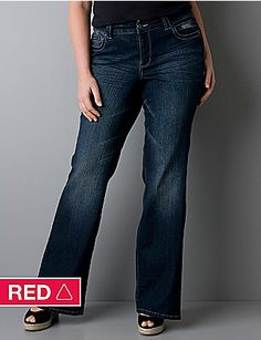 Lightly Flared plus size jean with Right Fit Technology | Lane Bryant