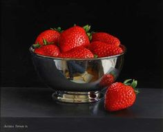 Jessica Brown. Still life with Strawberries in a Silver Bowl