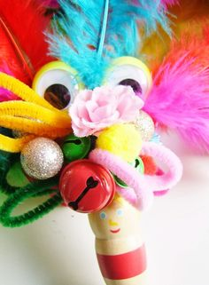 Crafting with kids-colourful carnival party scepters...