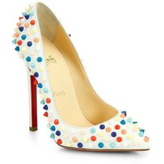 Christian Louboutin Pigalle 120 Multicolor Spiked Leather Pumps (€1.085) ❤ liked on Polyvore featuring shoes, pumps, heels, high heels, sapatos, white multi, christian louboutin pumps, high heeled footwear, white shoes and christian louboutin shoes