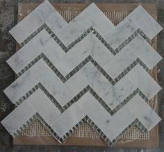 Chevron Marble Mosaics | Carrara Platinum Glass