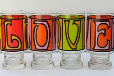 Visit my blog http://cdiannezweig.blogspot.com/ and my site http://iantiqueonline.ning.com/    Vintage LOVE Set of Four Drinking Glasses Typographic by EdibleComplex on Etsy
