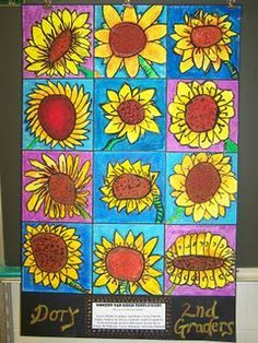 Student project: Every student draws a sunflower. Could also do this on ceramic squares and mount together as one large piece.